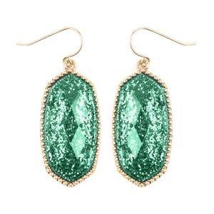 Faceted Hexagon Glitters Drop Earrings Green